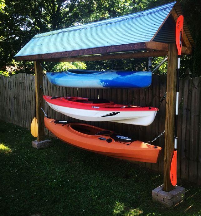 outdoor kayak storage ideas