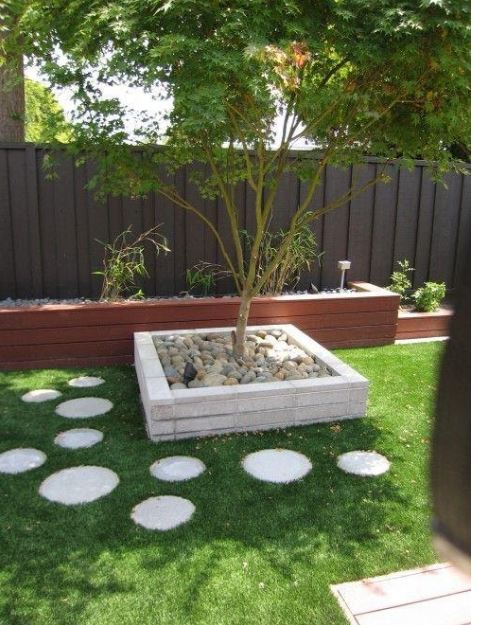landscaping ideas around trees with stone